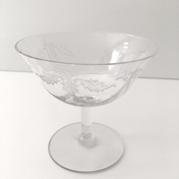 Fine crystal floral etched coupe champagne glass